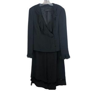 Escada 100% Silk Pants Set Blazer Ruffle Black